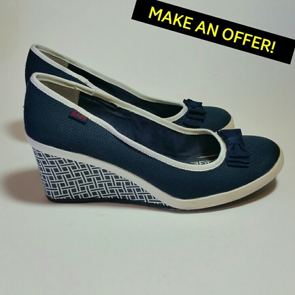 6b6a6068a69 Keds Shoes - Bliss Navy Blue White Keds Wedge Bow Shoes Size 8M